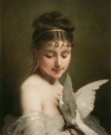 Young woman with a dove Charles Joshua Chaplin wlru
