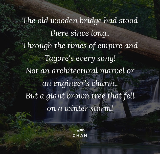 The old wooden bridge has stood there since long.. Through the times of empire and Tagore's every song! Not an architectural marvel or a Engineer's charm.. But a giant brown tree that fell on a winter storm!
